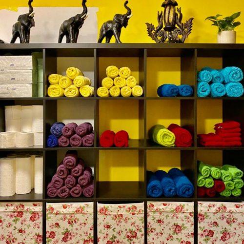 frische Handtücher für die Thai Massage